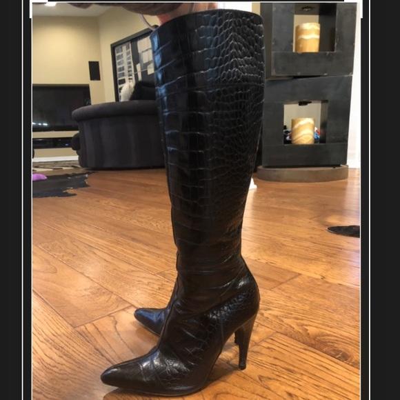 217a7e487 Prada Shoes | Authentic Knee High Leather Boots Black | Poshmark